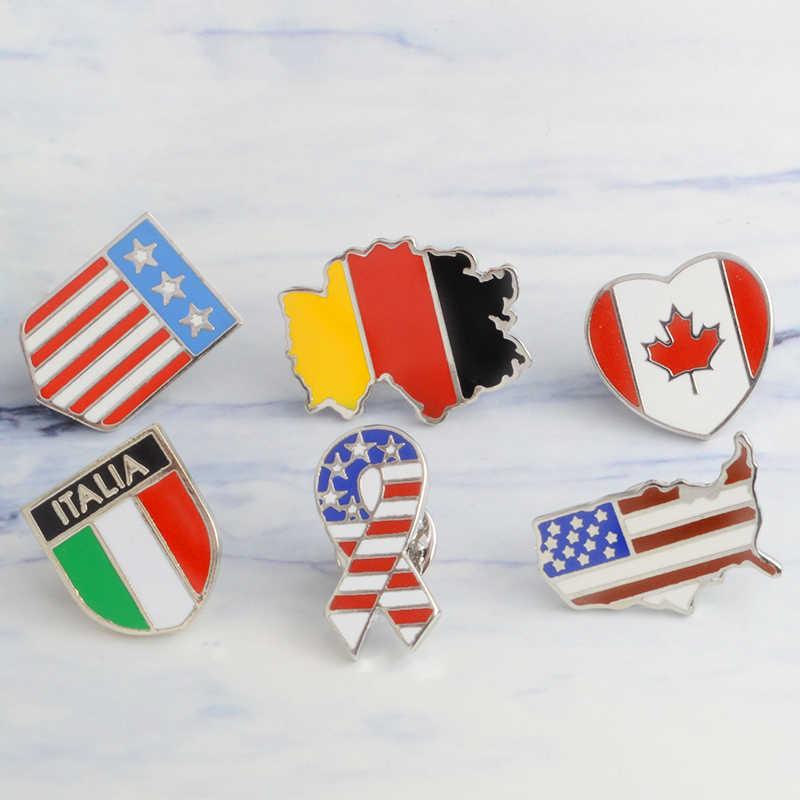 Jerman Kanada Italia Amerika Bendera Peta Bros Enamel Jarum Lencana Bintang Garis-garis Bros untuk Wanita Pria Topi Tas Kaus Kerah kelapak Jarum
