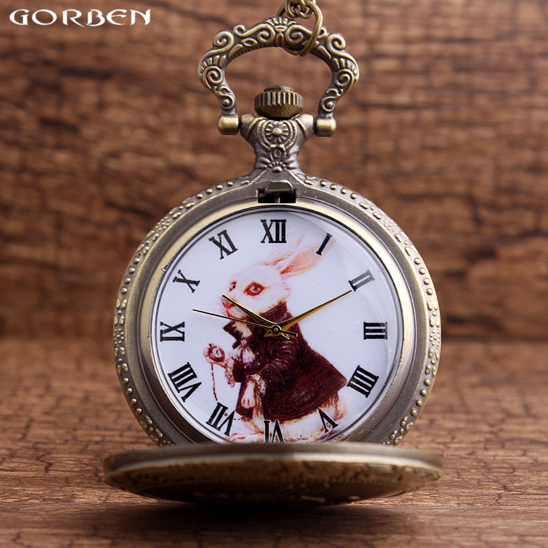 Vintage Alice In Wonderland Rabbit Pocket Watch Necklace For Girls Women Cute Stationary Openable Pendants Clock With Chain Gift