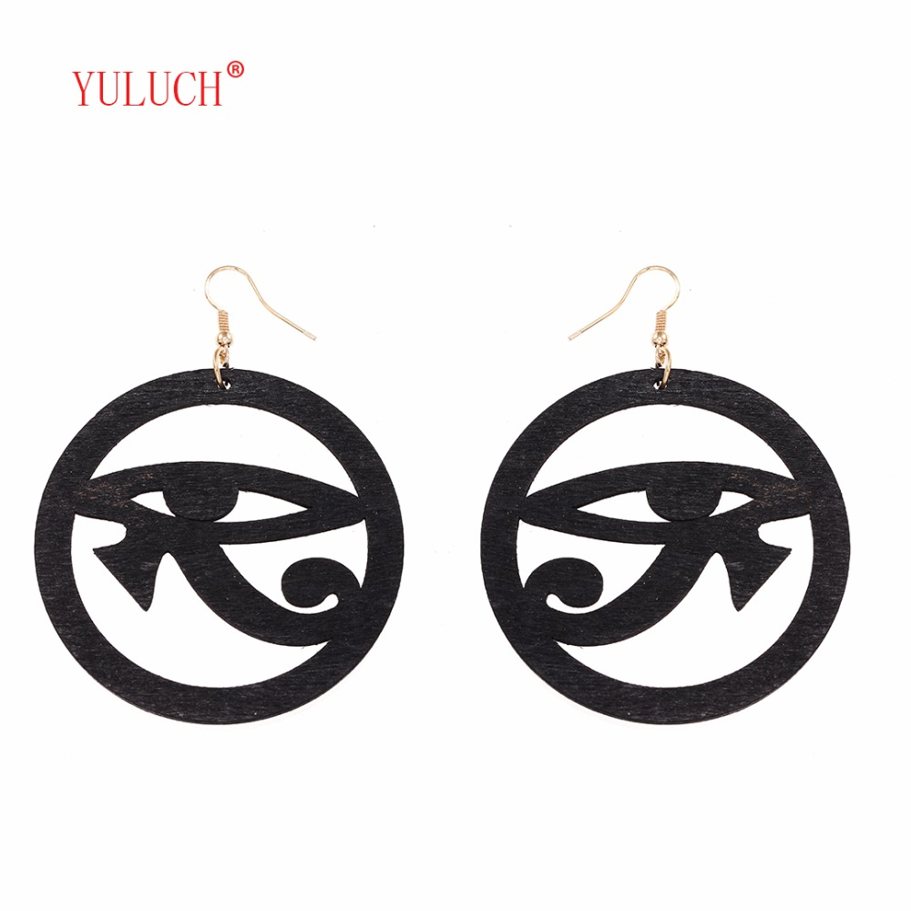 YULUCH Woman African Openwork Eye Shaped Pendant Earrings Simple Art Wood Jewellery Accessories Small Gift Very Special k0077