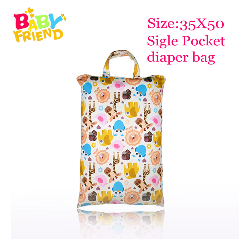 Babyfriend  Reusable Wet And Dry Cloth Diaper Bag Large Cloth Diaper Wet Bag Portable Handle Bag Mommy Bag Size 35X50 Cm