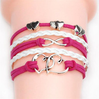 Women Fashion Vintage Leather Bracelet Infinity Love Believe Dream Multilayer Charm Bracelets Girl Gift Free Shipping