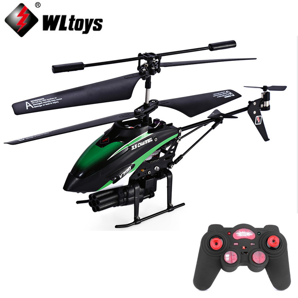 WLtoys V398 RC Drone Helicopter Toys For Boys 3.5 CH Missiles Launching IR Remote Control Helicopter with Gyro/LED Light s105g rechargeable 3 ch r c helicopter w gyroscope white blue ir remote 6 x aa
