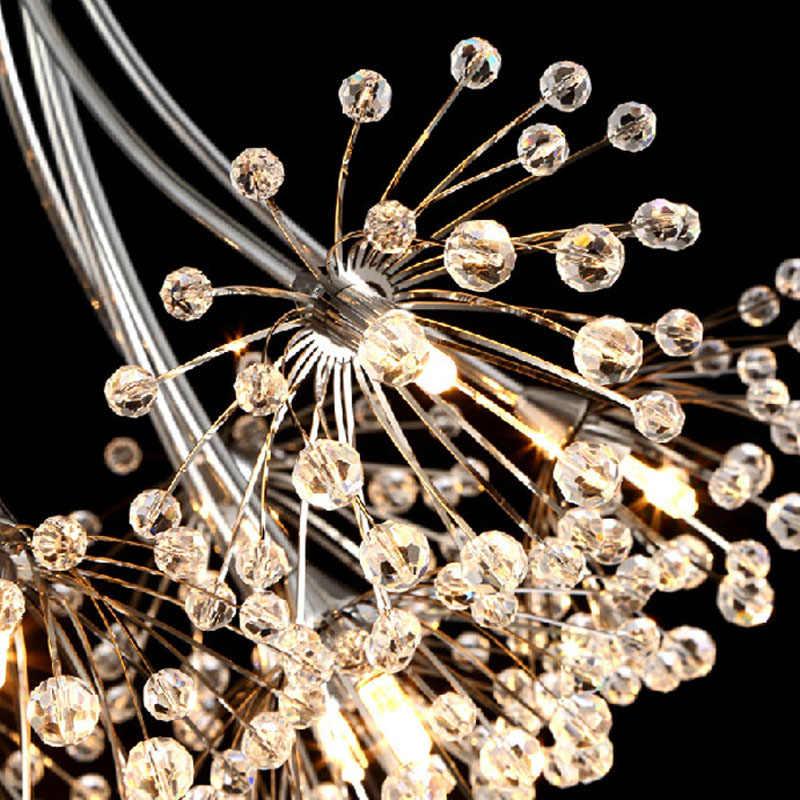 נברשת בדולח K9 המודרני G4 LED אורות זוהר דקורטיבית מנורת תקרה מקורה חדר יושב H80cm שן הארי עץ אהיל