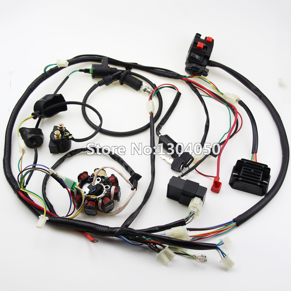 BUGGY WIRING HARNESS LOOM GY6 CDI ELECTRIC START STATOR 8 COIL NGK SPARK PLUG SWITCH ENGINE 150CC QUAD ATV GO KART KANDI DAZON