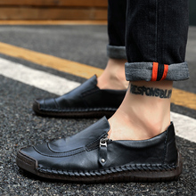 Genuine Leather Casual Men Shoes Walking Sneakers Men Casual Shoe Lace Up Moccasins Black Men Loafers Big Size 38-48