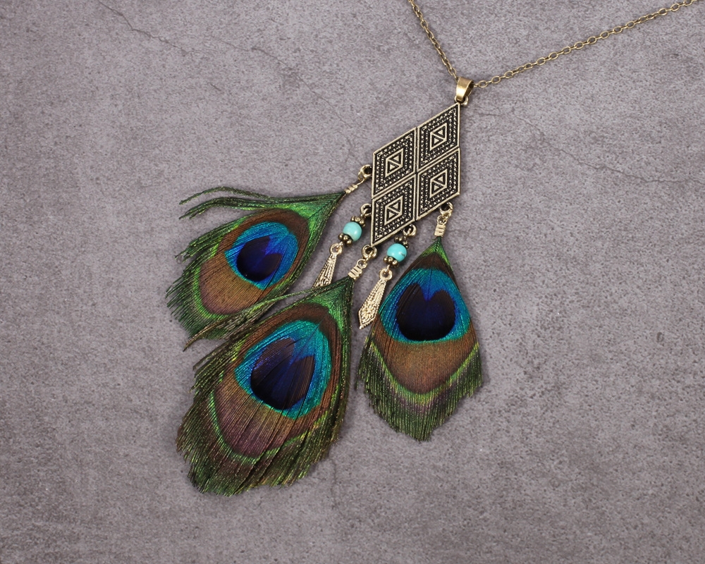 womens peacock feather sweather necklace geometry shape alloy vintage necklace 2018 collares
