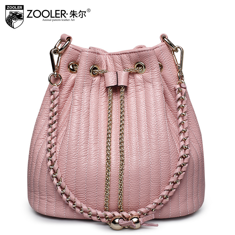 ZOOLER Ladies Genuine Leather Bucket Bags Handbags Women Famous Brands Pumping Large Capacity Chains Shoulder Bag Crossbody Bags smeg fab32ron1
