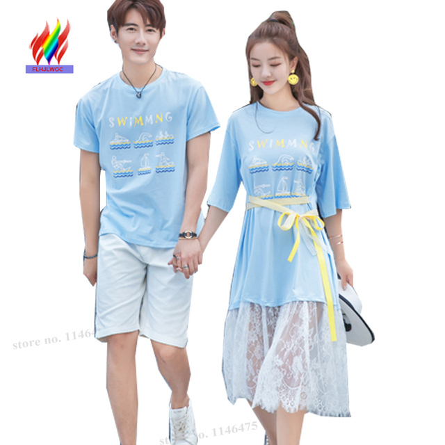 6a9f11cb17d2 Matching Couple Lovers Clothes Honeymoon Dresses Holiday Vacation Boyfriend  Girlfriend Casual Patchwork White Lace T Shirt