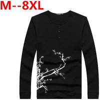 Big Siz 8XL 6XL 5XL New Fashion Brand Trend Print Slim Fit Long Sleeve T Shirt