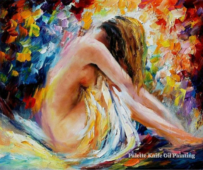 Milenci nahé palety nůž olejomalba Sexy nástěnné umění olejomalba Nahé ženy Olejomalba na plátně Ručně malované malby 5