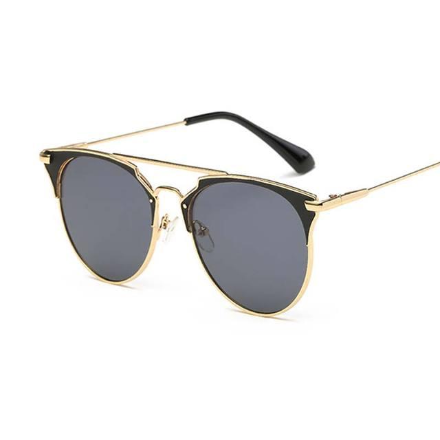 f32ec19084951 Mulheres ou homens de Moda de luxo Gato óculos de Sol Espelho d Rodada  Espelhado Retro
