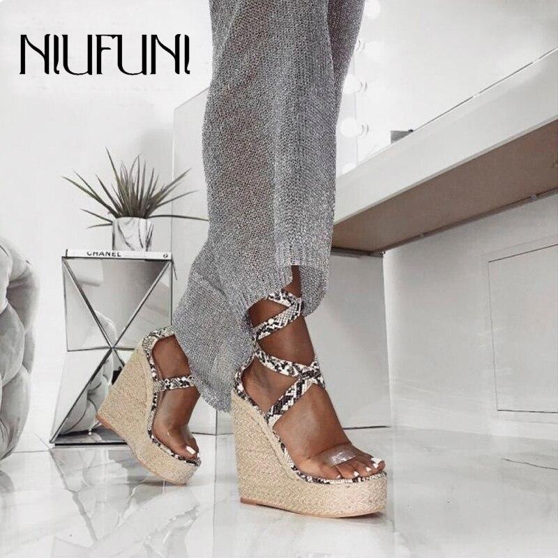 Snake Pattern Ladies Waterproof Platform Wedges Sandals NIUFUNI Women Shoes Summer High Heels Ankle Strap Buckle Roman Gladiator in High Heels from Shoes