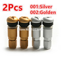 New 2Pcs Silver/Gold Bolt-in Aluminum Tubeless Wheel Tire Valve Stems Cap Copper Core Explosion-Proof Caps for Car-styling