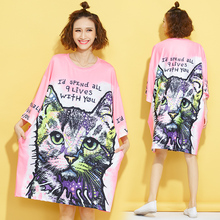 Women Harajuku Style Oversize T-shirts Female 2016 Autumn Cartoon Cat Letters Prints O-neck Bat Sleeve Long Tops Plus size Tees