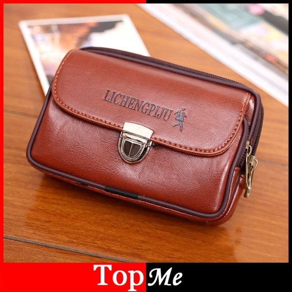 New Men Fanny Pack For <font><b>Mobile</b></font> <font><b>Phone</b></font> Male Brown Black Lock Zipper Coin <font><b>Purse</b></font> PU Leather Good Quality Bag Casual Waist Packs Bags