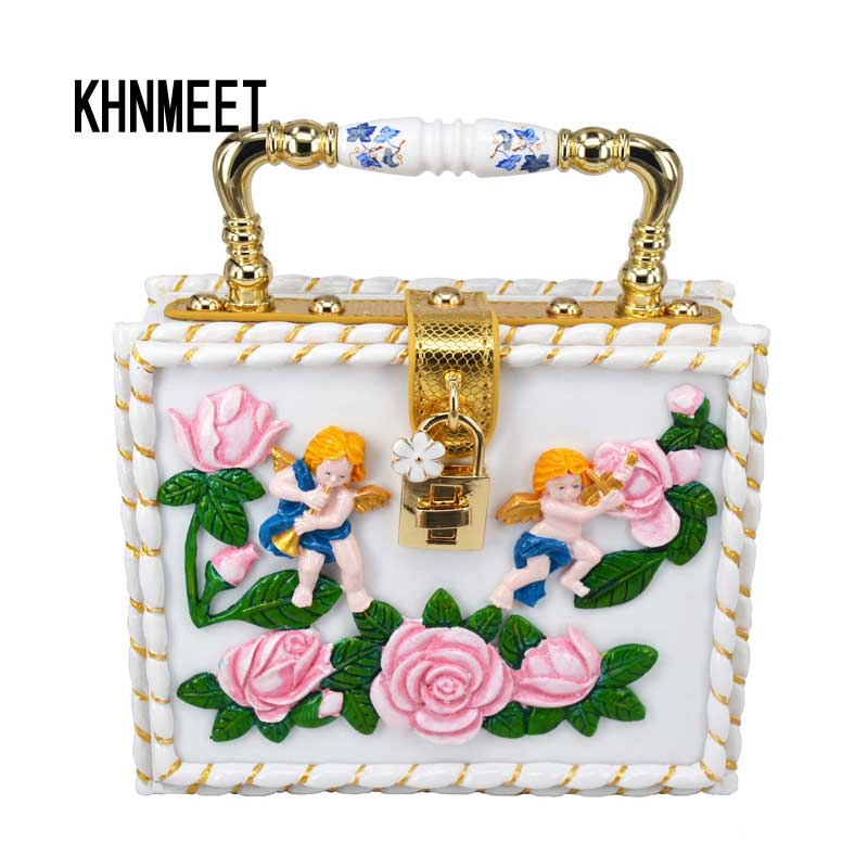 Newest sculpture Lovely Baby Flower Mini Tote Fashion Box Handbags With Strap White Clutch Evening Bag Women Shoulder Bag Z9197 fashion box evening bag oil painting flower black lock clutch bag strap mini tote bag ladies purse trunk white women handbags