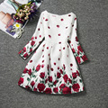 Children's Wear New Rose Printed Long-sleeve Girl Dress Party Frocks For Ball Gown Kids Clothes Girl Princess Dress Girl Wedding