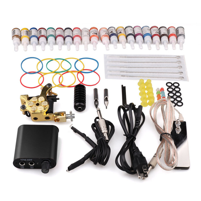 Professional Complete Tattoo Kit 8 Wrap Coils Tatto Machine Guns Pigment Induction Tattoo Machine Set