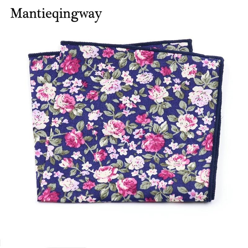 Mantieqingway Mens Floral Printed Cotton Handkerchiefs Pocket Square For Gentlemen Wedding Party Suit Chest Towel Pocket Hanky