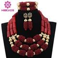 Hot Sale Amazing Red Coral Beads Necklace Jewelry Set Gold Plated Wedding Brides Statement Jewelry Set Wine Red Gift ABL722