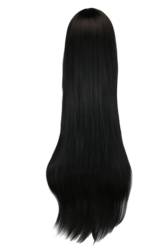 QQXCAIW Long Straight Party Anime Cosplay Svart 40