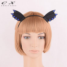 CXADDITIONS Black Bat Ear Demon Evil Lace Rhinestone Crown Tiara Headband Hairband Halloween XMAXNightclub Cosplay Girl Women(China)
