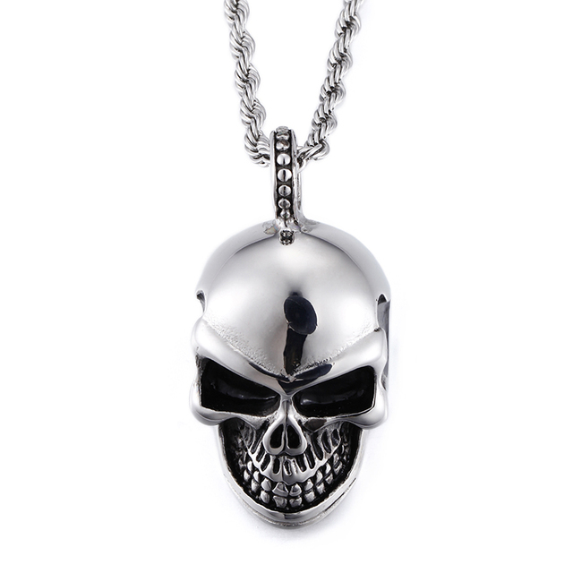 Casting stainless steel biker shiny silver skull skeleton pendant casting stainless steel biker shiny silver skull skeleton pendant necklace rope chain 4mm 22 inch aloadofball Gallery