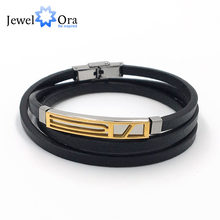 Genuine Leather Bracelet Cuff Stainless Steel Men Bracelets Trendy Anniversary Men Gift 2018 Special Off(JewelOra BA102242)(China)