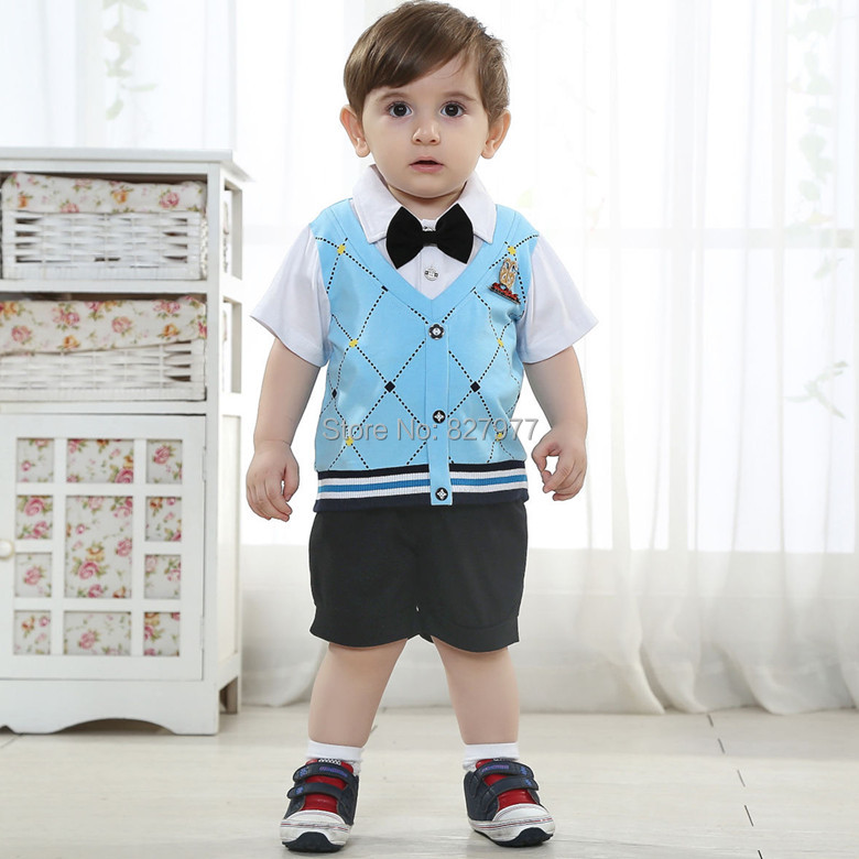 Most Popular England Style 0 1 2 Years Old Children Clothes Summer Fashion Baby Boy Clothing Set