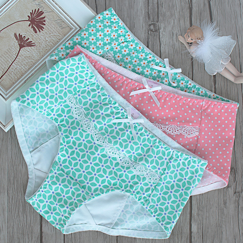 lovely Printed Cotton Physiological underpants night aunt menstrual period waist leak comfort health underwear tanga thong