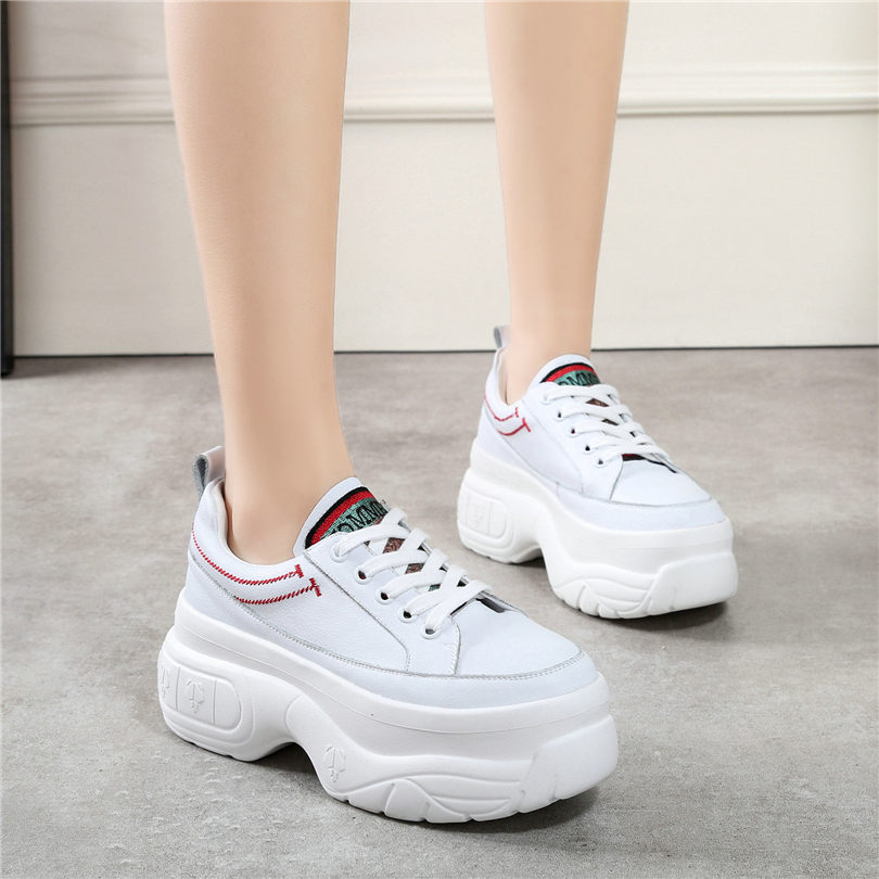 NAYIDUYUN  Trainers Sneakers Women Cow Leather Lace Up Wedges High Heels Party Pumps Shoes Platform Oxfords Casual Tennis