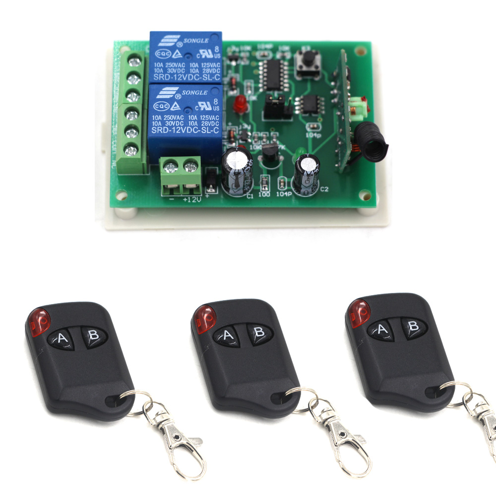 2017 New Product DC12V 24V 2CH 2CH Wireless RF Remote Control Switch 3 Transmitter and 1 Receiver for Wireless System 315/433MHZ black professional dc12v 24v 2ch rf wireless remote control switch system transmitter receiver with two button 315mhz 433mhz