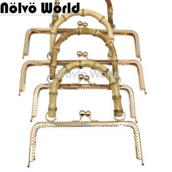 4pcs 20cm 25cm 3 colors M-type bronze retro purse handbag Metal Frame,Wood handle Kiss Metal Frame Clasp Frame