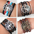 Game of Thrones Men Leather Bracelet Song of Ice and Fire Vintage Punk Antique Silver Dragon Charm for Women PU Leather