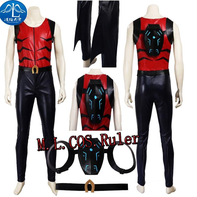 Young Justice Aqualad Kaldur Cosplay Costume Any Size COS Top Pants Belt Bag Full Suit