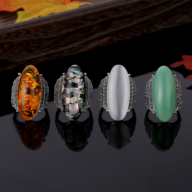 Feelgood Vintage Jewellry Antique Silver Color 4 Colors Resin Ring Fashion Design Crystal Rings For Women And Men Party Gift