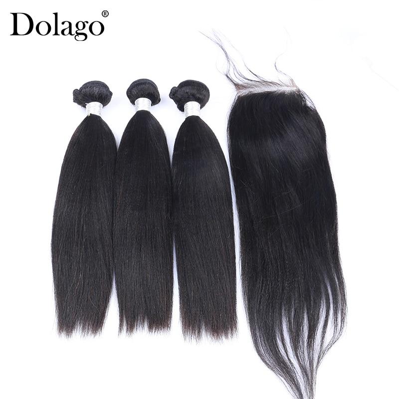 Yaki Straight Brazilian Hair Weave Bundles 3 Human Hair Bundles With Closure 4 Pcs Remy Coarse Yaki Dolago Hair Products