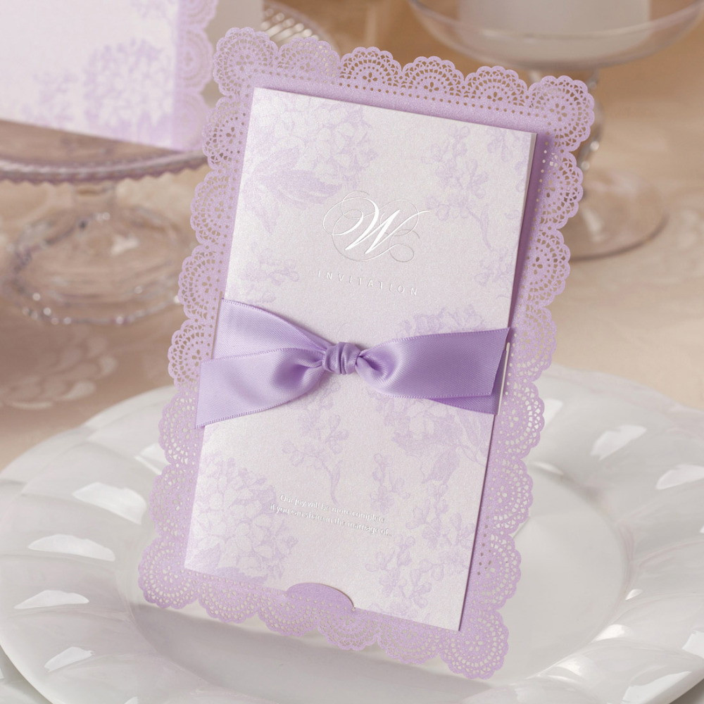 100pcs Lace Ivory Horizontal Laser Cut Wedding Invitation Cards with ...