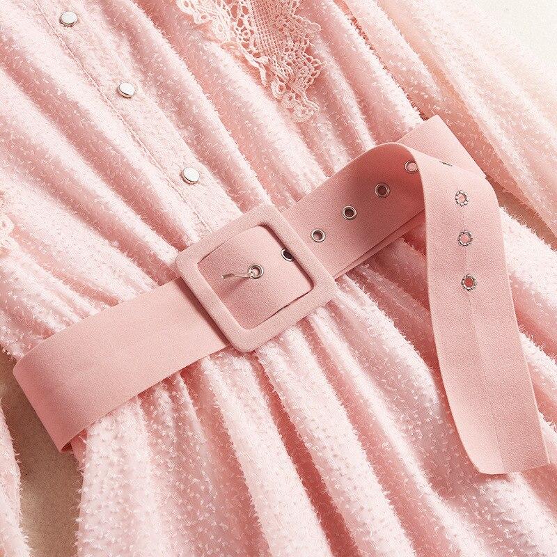 Robe Femmes Nouveau Col Manches 2019 Designer Vêtements Doux Rose Avec 50231 Pan Longues Peter À Shuchan Style Ceintures Robes 7bfY6gy