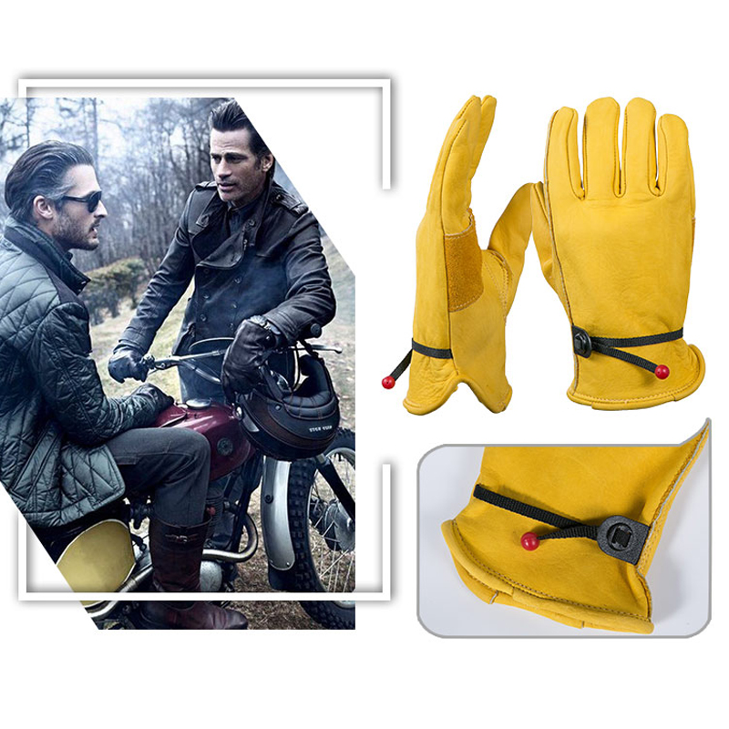 OZERO The Driver Cowhide Motorcycle Gloves Waterproof Anti Cold Anti Snowboard Hiking Hunting MOTO Leather Gloves for Men 0003