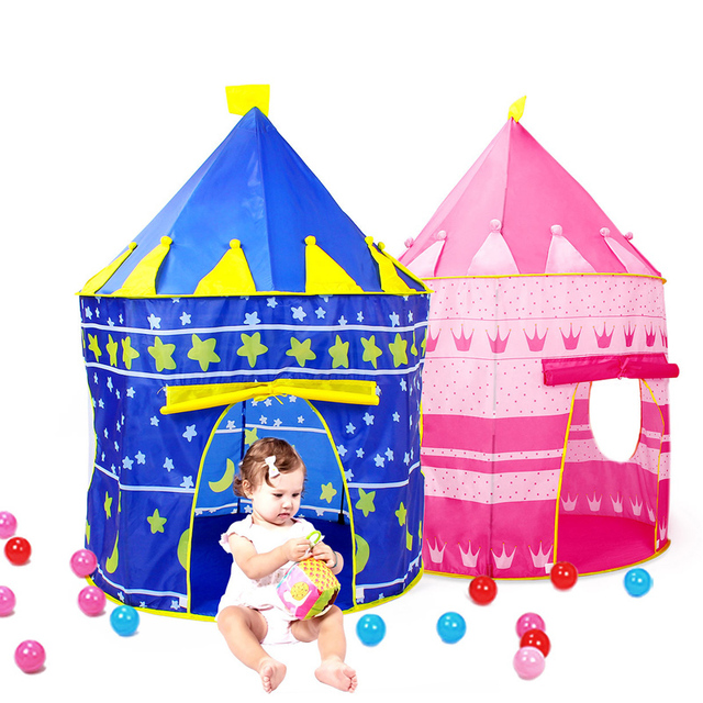 f96b7a6c8 2 Colors Play Tent Portable Foldable Tipi Prince Folding Tent Children Boy  Castle Cubby Play House Kids Gifts Outdoor Toy Tents