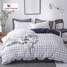 SlowDream Geometry Style Simple Mans Bedding Set Decor Home Textiles Flat Sheet Pillowcase Duvet Cover Bedspread Bedclothes