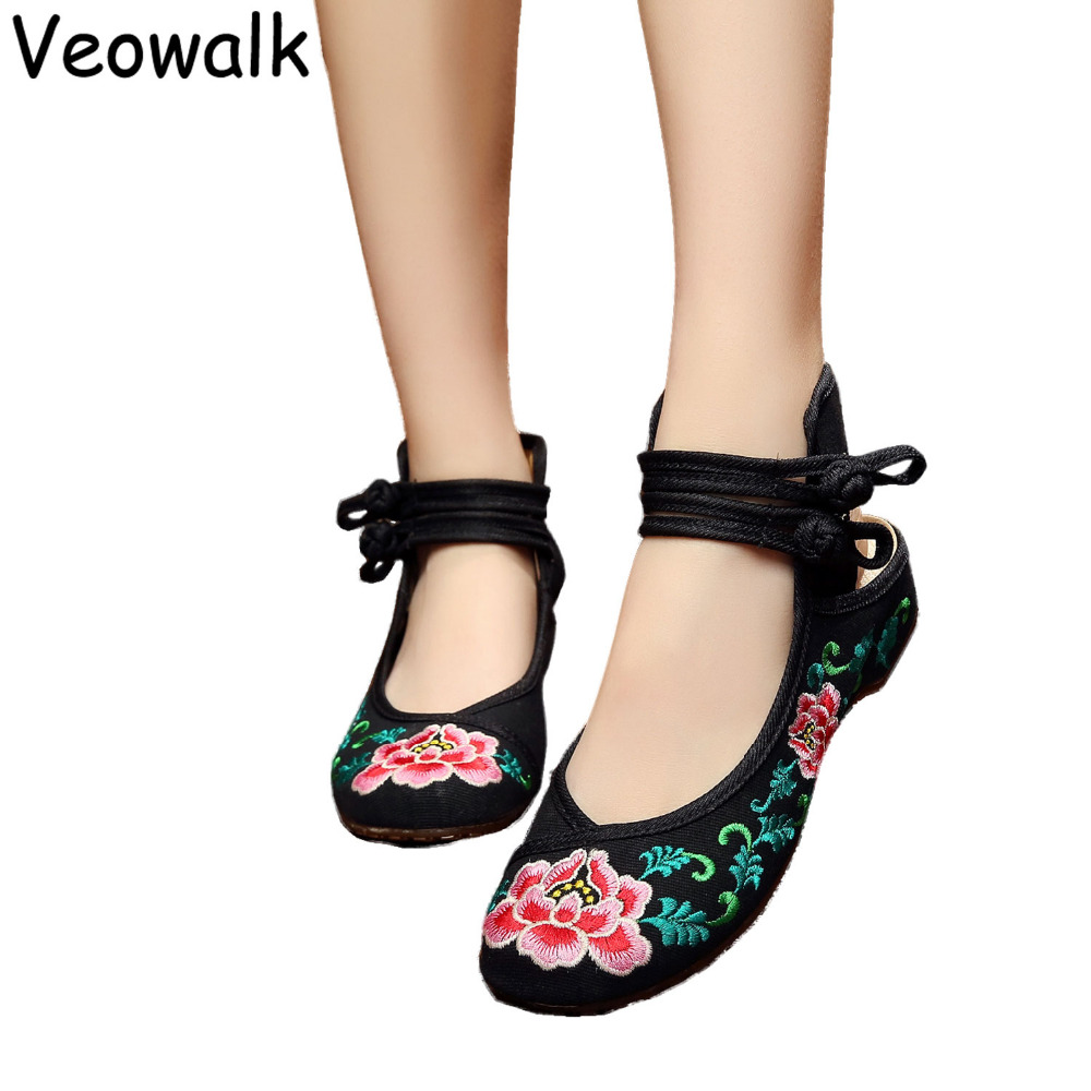 Veowalk Women Flower Embroidery Casual Cloth Shoes Ladies Vintage Chinese Style Beijing Canvas Flats Zapatos Mujer Size 34-41  vintage women shoes 2017 spring new canvas embroidered women s canvas cloth shoes tendon bottom size 34 41