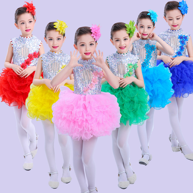 fe53f3355 2017 Sequins Kids Dance Costumes Jazz Dance Costumes Girls ballet Dress  Stage Performance