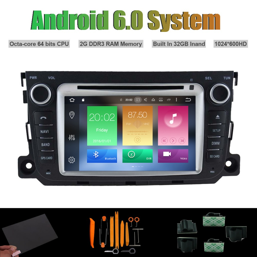 Android 6.0 Octa-core CAR DVD PLAYER for MERCEDES-BENZ <font><b>SMART</b></font> 2010-2014 AUTO Radio RDS STEREO <font><b>WIFI</b></font> 32G Flsh
