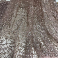 Sugar rose gold lace fabric glitter sugar shiny powder sequins tulle lace fabric 2019 swiss voile for party dress