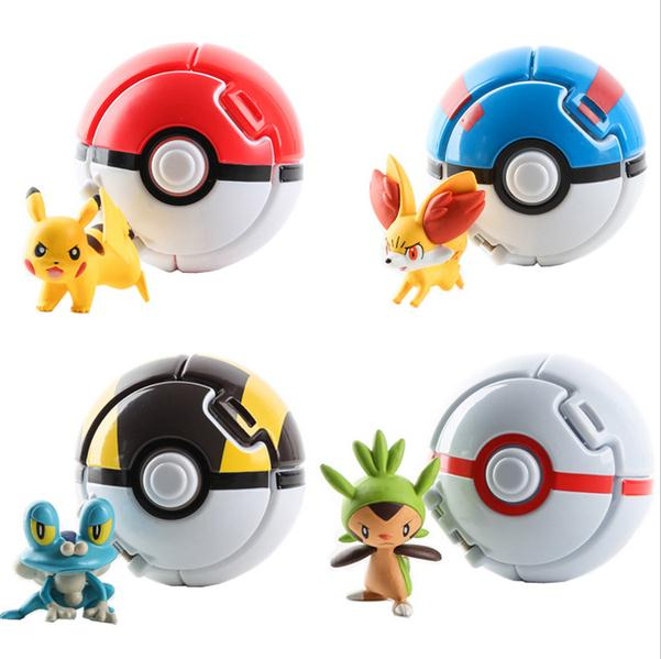 4Pcs/Lot Elf Grasping The PokeBall Toys Pikachu Elf Ball Pikachu Balls 7CM Cartoon Movie With Pikachu Figures Educational Toys cartoon pikachu waza museum ver cute gk shock 10cm pikachu pvc action figures toys go pikachu model doll kids birthday gift