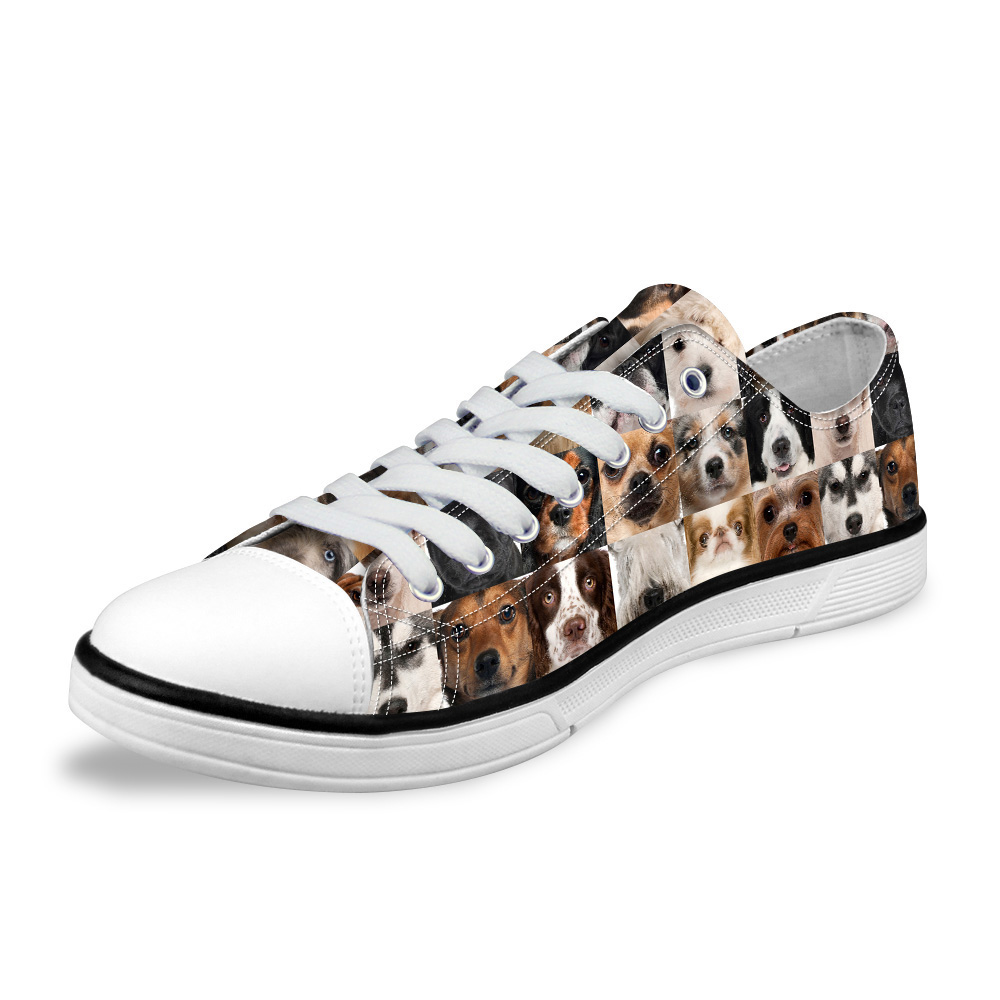 NOISYDESIGNS HOT Men's Lace-up Canvas Shoes Fashion 3D Animal Cat Puzzle Dog Collages print Vulcanize Shoes For Male boy