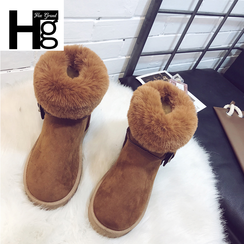 HEE GRAND Buckle Faux Suede Leather Women Winter Snow Boots Warm Girl Platform Ankle Boots Slip On Plush Fur Shoes Women XWM281 fashionable lace long sleeve off the shoulder see through blouse for women