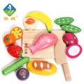 Yiwang Cozinha Brinquedos 12 pçs/lote Madeira Pretend Play Vegetais e Alimentos de Corte Corte De Segurança de Brinquedos para As Crianças No Início Da Educação Spielzeug